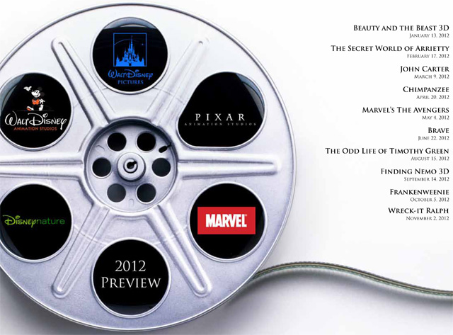 Disney 2012 movie film lineup