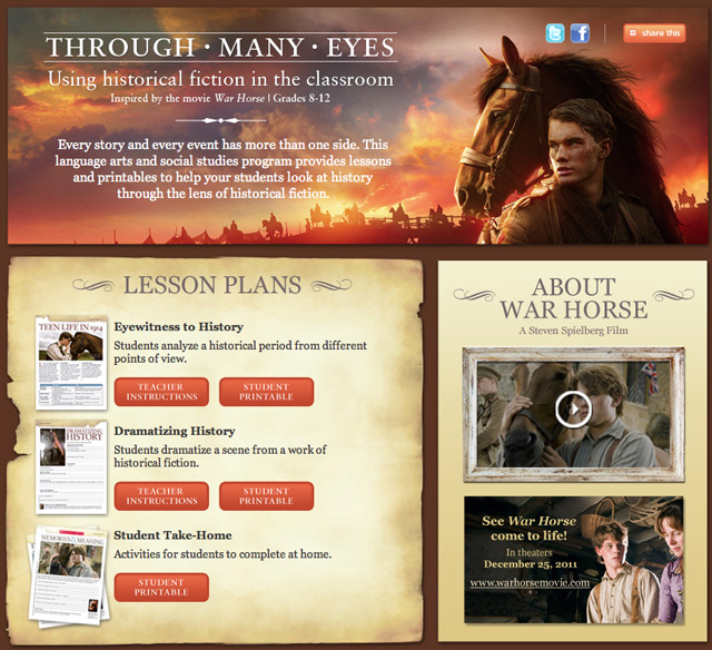 War Horse Printable Lesson Plan for homeschool or teachers from Scholastic
