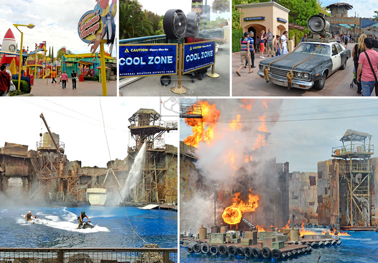Universal Studios Hollywood California City Tour Waterworld Blues Curious George Show