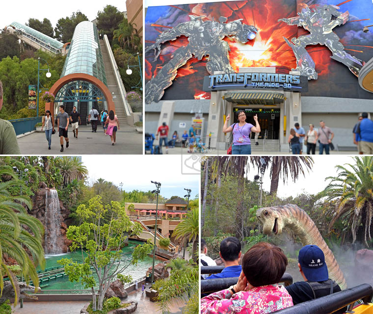 Universal Studios Hollywood California City Tour Ride Escalator Lower Lot Transformer 3D Jurassic Park Dinosaur Wet