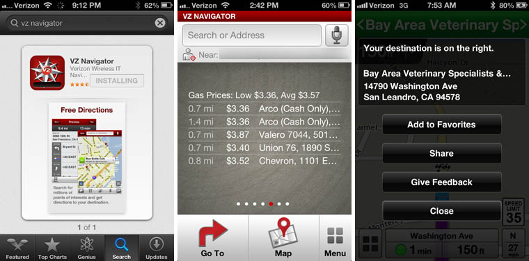 Verizon VZ Navigator iOS app screenshots