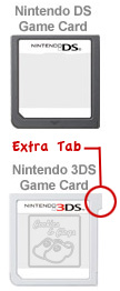 Extra Tab Difference of Game Card for DS DSi 3DS