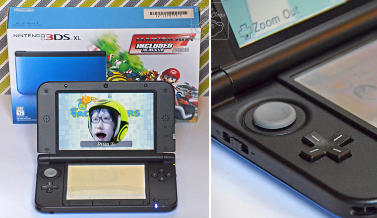 Nintendo 3DS XL in Blue with Face Raiders and Analog Controller