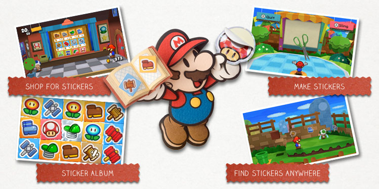 Paper Mario Sticker Star RPG game for Nintendo 3DS with Super Mario characters