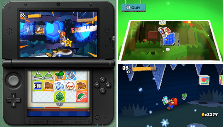 Paper Mario Sticker Star RPG game for Nintendo 3DS with Super Mario characters Screenshot of Battle and Paperize