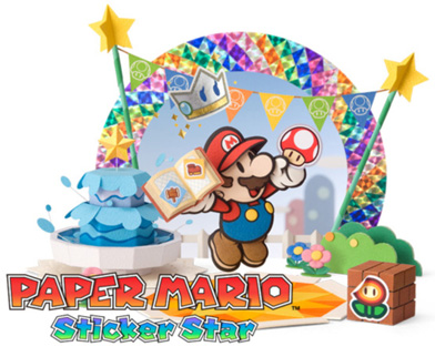 Paper Mario Sticker Star RPG game for Nintendo 3DS with Super Mario characters Logo