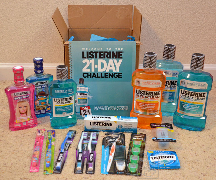 LISTERINE 21-Day Challenge Supplies with Mouthwash Rinse Toothbrushes and Floss