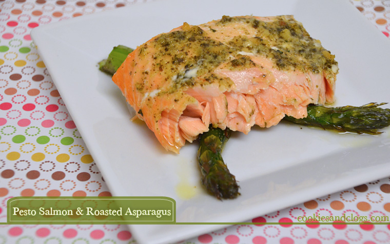 Baked Pesto Salmon Recipe with Roasted Asparagus