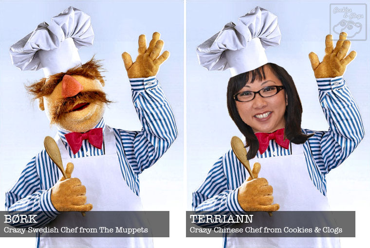 Swedish Chef Bork from Muppets and TerriAnn from Cookies & Clogs