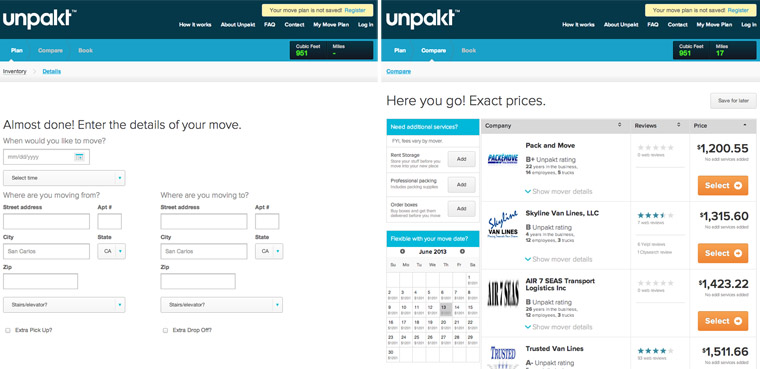 Unpakt Moving Company Price Comparison Site