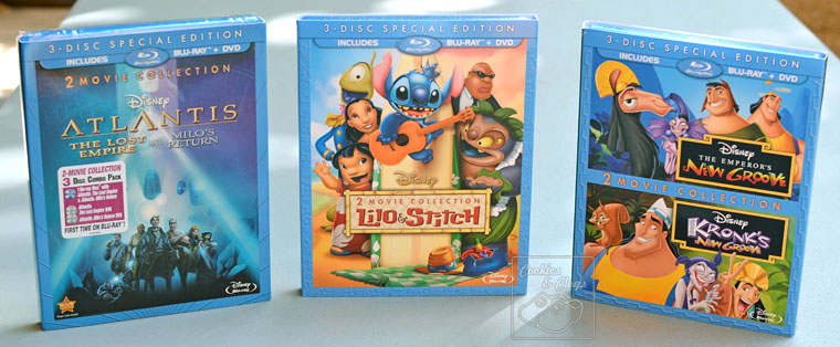 Disney 2-Movie Collections of Lilo & Stich, The Emperor's New Groove, and Atlantis: The Lost Empire on Blu-ray