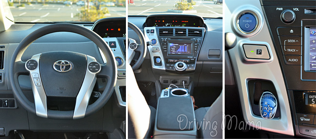 2014 Toyota Prius v Family Hybrid Review - Dashboard, Controls, and Gears