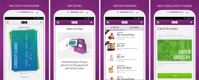 Softcard Mobile Wallet App on Verizon, AT&T, and T-Mobile for NFC Phones with a Secure Element on its SIM card.