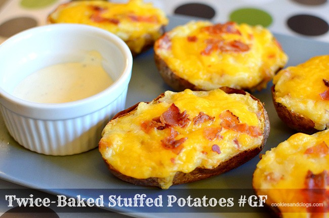 Gluten-Free Twice-Baked Stuffed Potatoes Recipe with cheese, bacon, sour cream, and butter #Recipe #GF