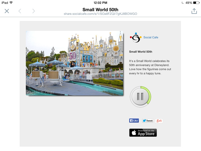 "SocialCafe free photo app and social sharing app for audio with photo – demo 50th anniversary of ""It's a Small World"" #tech"