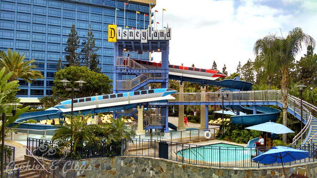 Hotels by Disneyland: Disneyland Hotel in Anaheim, CA Review – Monorail water slide and pools #hotels #travel