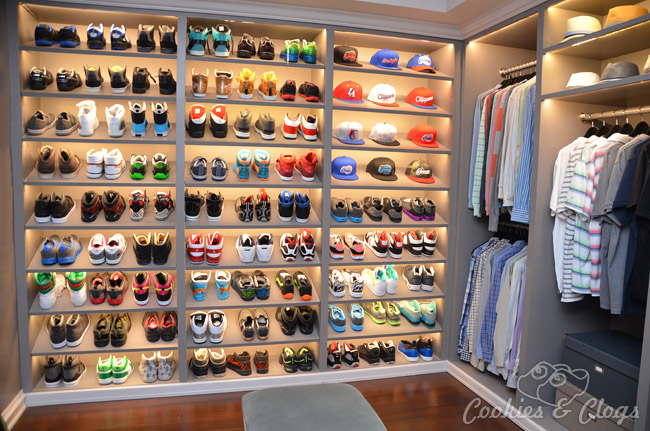 Behind-the-Scenes Set Tour of black-ish, family comedy tv sitcom on ABC – Dre's closet with shoes and caps