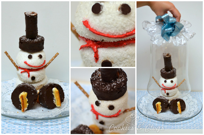 Ice Skating Snowman Edible Winter Centerpiece with Hostess