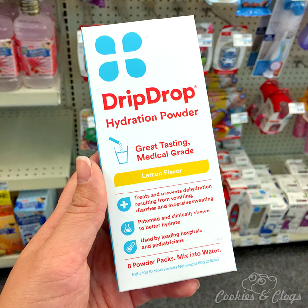 DripDrop Hydration Powder, for after a workout or being sick. Found in the baby aisle at CVS