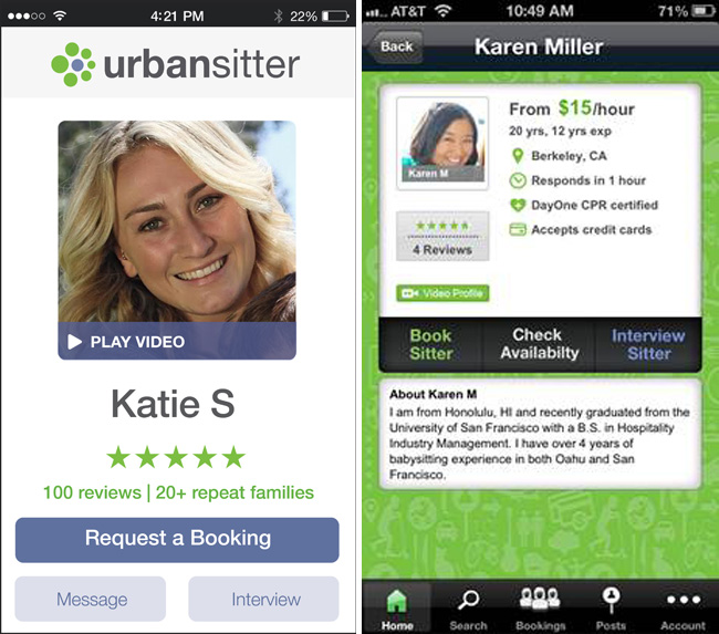 UrbanSitter service to find trusted babysitters for parent date nights or other