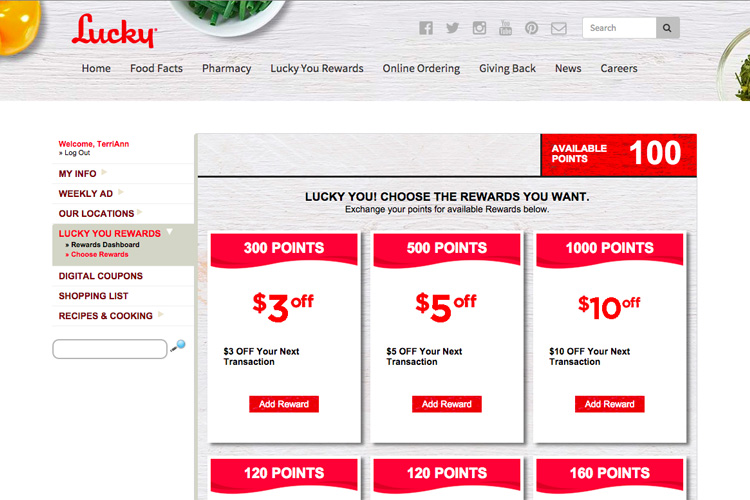 Technology | Shopping | The new Lucky You Rewards program from Lucky Supermarkets lets you earn points for grocery shopping, get digital coupons, make shopping lists, find recipes, and make meal plans. Use online or the mobile app.