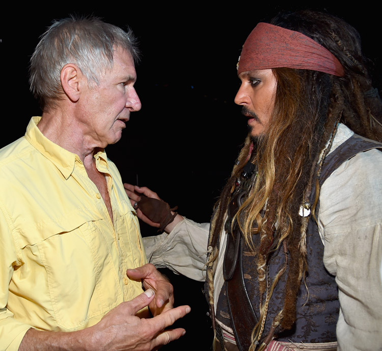 Movies | Live action slate of Disney, Marvel, and LucasFilm at D23 Expo was full of star appearances and surprise announcements. Summed up perfectly with Harrison Ford chatting with Johnny Depp as Captain Jack Sparrow.