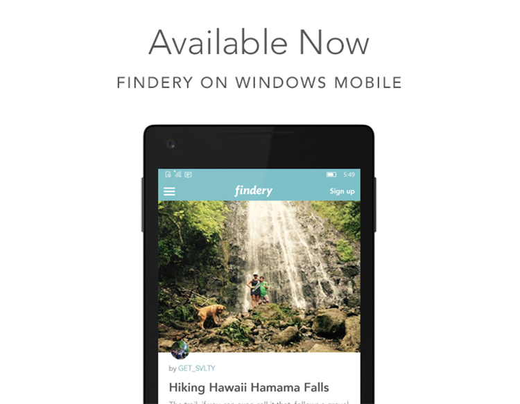 Travel | Technology | The travel social network, Findery, is now available on Windows 10. See here for details.
