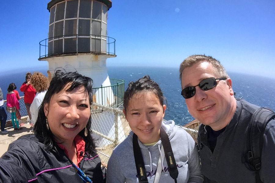 Cookies & Clogs | Want to take a family road trip to Point Reyes National Seashore in Point Reyes, CA? Here are several things to do with the kids including the Point Reyes Lighthouse. See what the climb down is like and if it's worth the trek. Family selfie