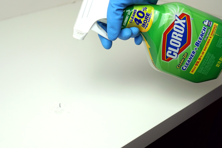 Cookies & Clogs | See how my quick fashion fix for saving my black pants resulted in me discovering a tip on how to remove permanent marker ink on our laminate table top using Clorox cleaner with bleach.