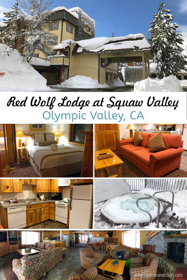 Cookies & Clogs | Red Wolf Lodge at Squaw Valley is in the heart of Olympic Valley, CA in Lake Tahoe. Walk two minutes in one direction for skiing and snowboarding and two minutes in another to get to the Village shopping center. Perfect hotel for families. See the video room tour and listed amenities.