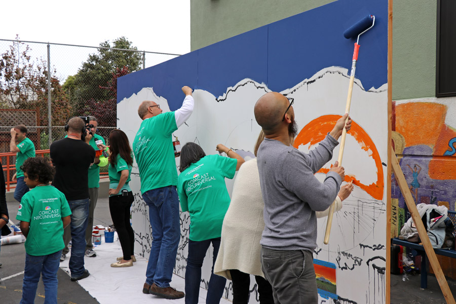 Cookies & Clogs | 2017 Comcast Cares Day at Sutro Elementary in San Francisco, CA + interview with David L. Cohen. Local community project also brings attention to Asian Pacific American Heritage Month. Mural with Dave Young Kim