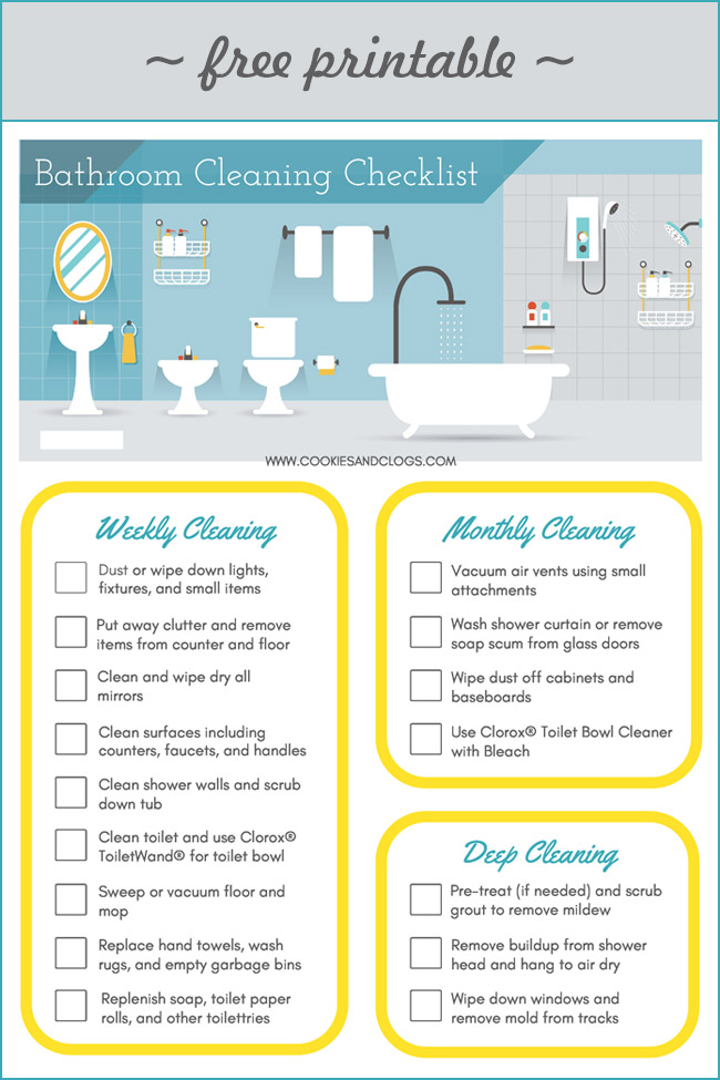 photo about Printable Bathroom Cleaning Checklist named Having Adolescents in direction of Fresh new + Printable Toilet Cleansing List