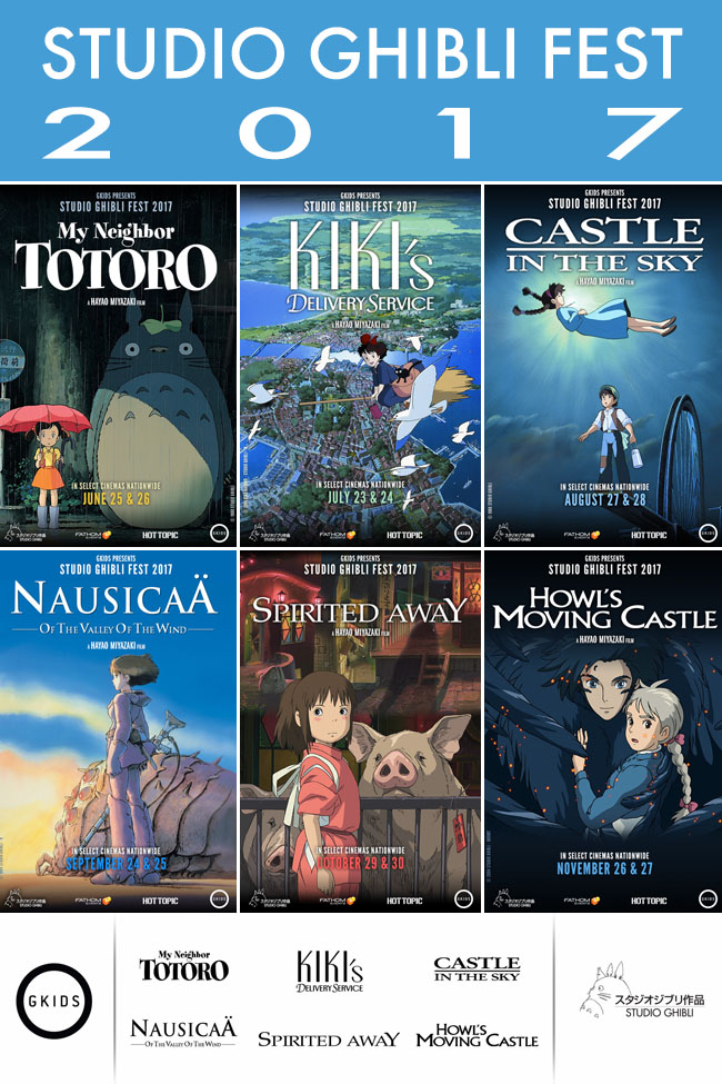 Cookies & Clogs | Get your Studio Ghibli Fest 2017 Series Pass today! See how you can buy tickets for six Studio Ghibli movies by Hayao Miyazaki for $60 at AMC, Cinemark, and Regal theaters. Get local showtimes for subbed and dubbed versions of My Neighbor Totoro, Kiki's Delivery Service, Castle in the Sky, Nausicaä of the Valley of the Wind, Spirited Away, and Howl's Moving Castle.
