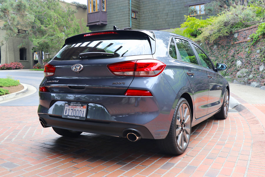2018 Hyundai Elantra GT review. Rear view, gray