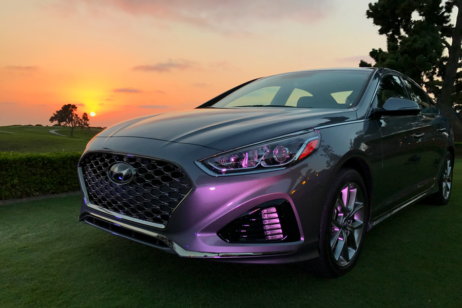 2018 Hyundai Sonata gray, orange, and purple sunset beauty photo