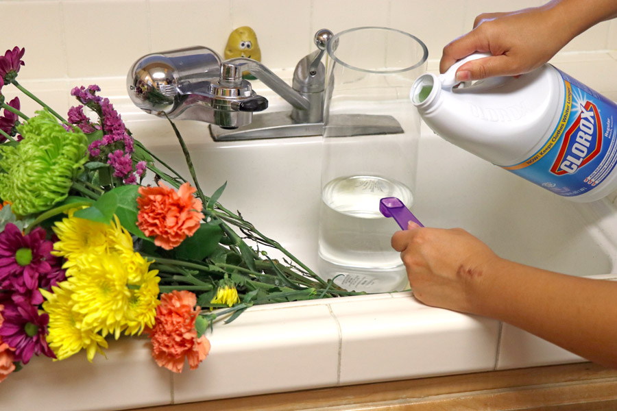 See how to use Clorox bleach for back to school cleaning - extend cut flower life.