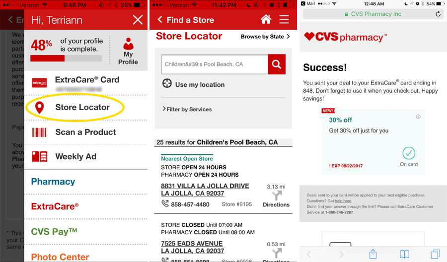 How to use CVS Pharmacy App store locator while on the go.