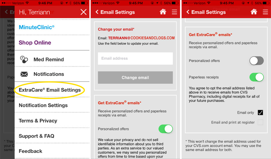 How to opt-in for digital receipts on the CVS Pharmacy App while on the go.