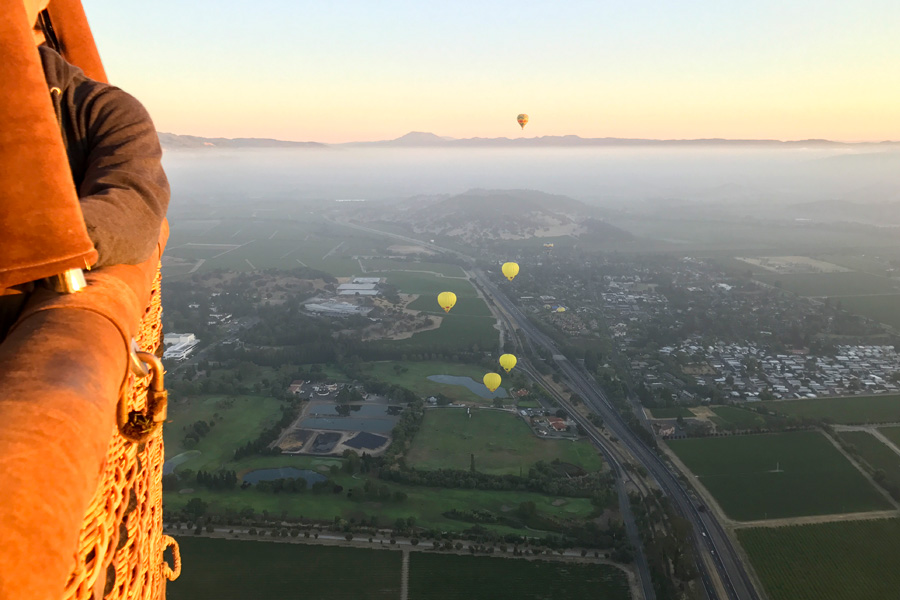 Hot air balloon ride over Napa Valley California View from the air in the basket