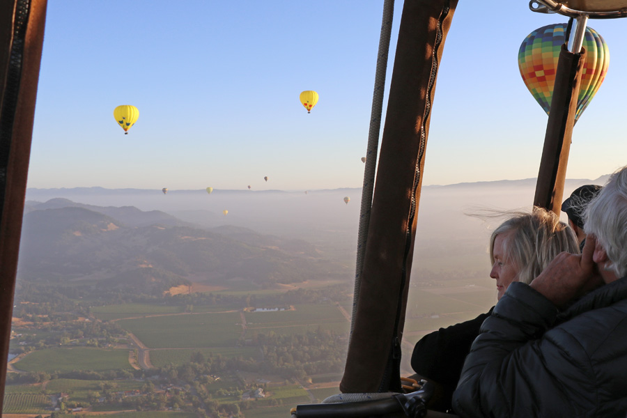 Hot air balloon ride over Napa Valley California view from inside the basket