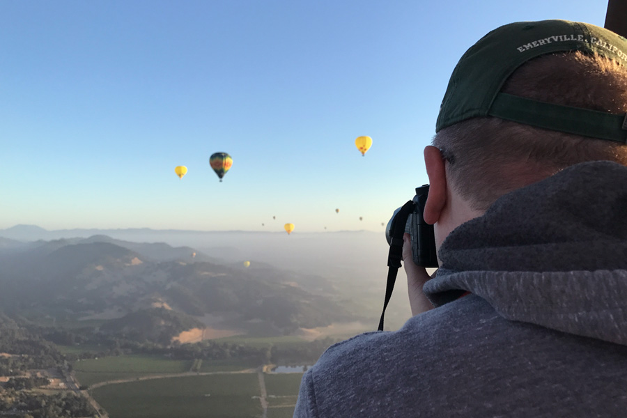 Hot air balloon ride over Napa Valley California Photography from the air