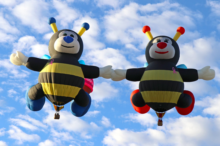 2017 Albuquerque International Balloon Fiesta in New Mexico Special Shapes Rodeo Joey and Lilly Bees