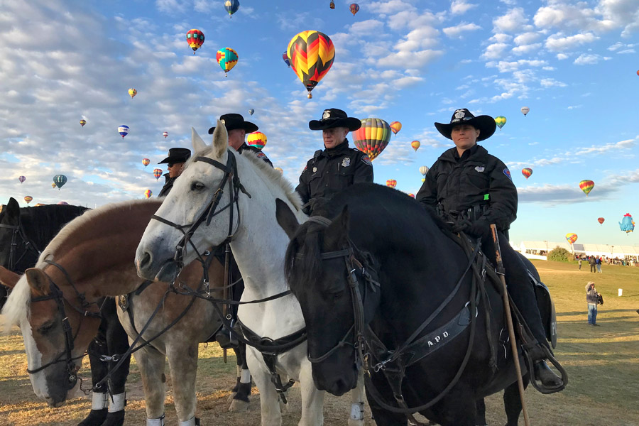 2017 Albuquerque International Balloon Fiesta in New Mexico Special Shape Rodeo Police Horses