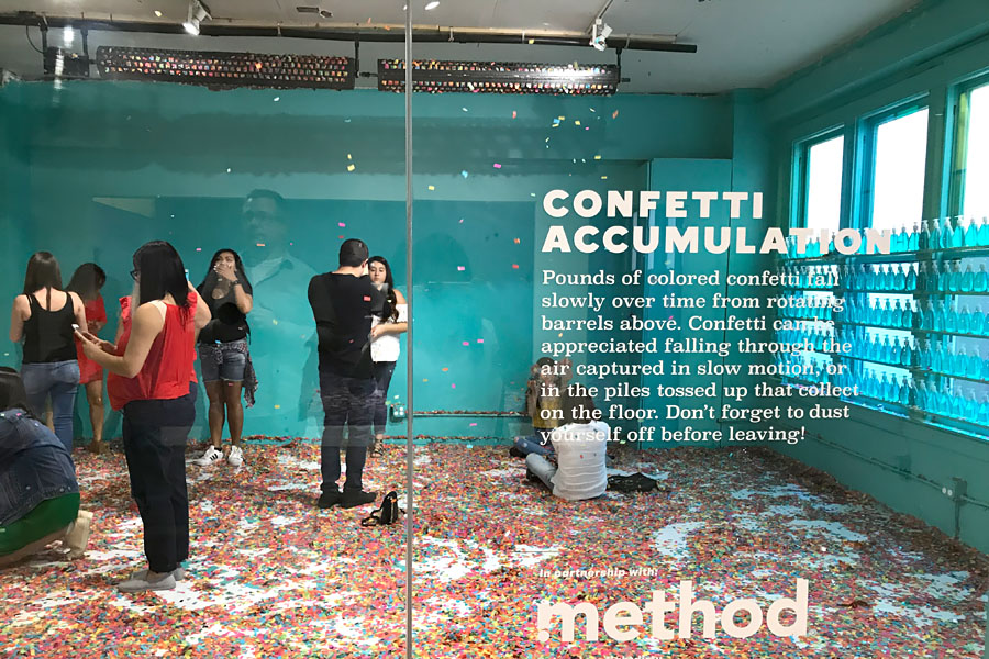 Color Factory in San Francisco, CA. Teal room with confetti