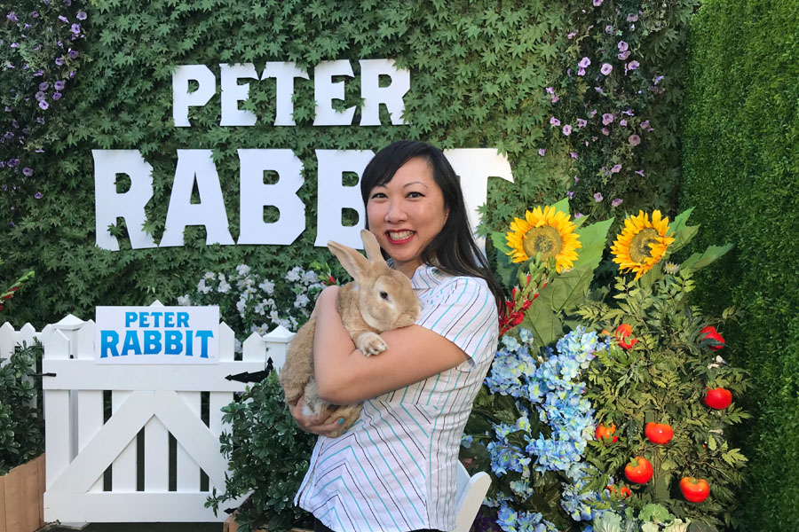 Peter Rabbit Press Conference in Hollywood with Sony Pictures and Cast Interview with live bunny