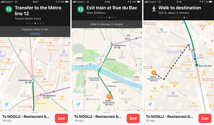 Paris Metro & Bus Public Transportation Guide: Free mobile app, Apple Maps screenshots with Metro line and walking directions