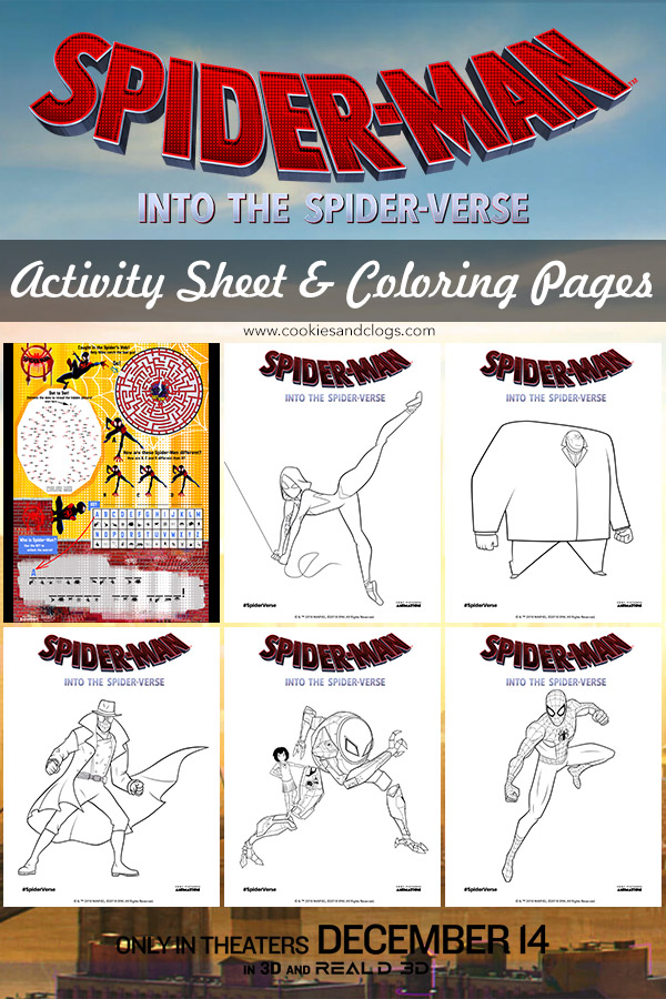 Sony Pictures and Marvel Spider-Man: Into the Spider-Verse printable activity sheet and coloring pages.