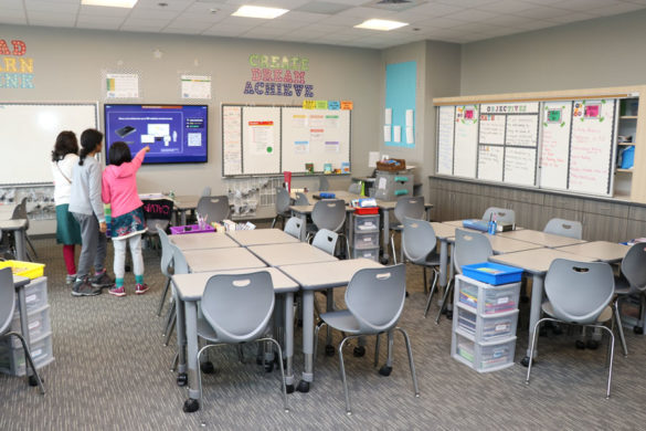 New houses in Mountain House CA — Hanson Elementary School tour with classroom and multi-purpose room gym