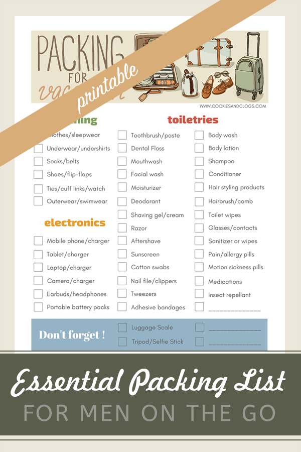 Travel Checklist for Guys: Essential Printable Packing List for Men