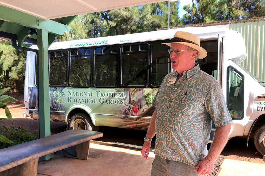 Taking the Allerton Garden Tour in Lawai Valley on the South Shore. 1 of 3 National Tropical Botanical Gardens in Kauai Hawaii. Shuttle bus and docent / guide